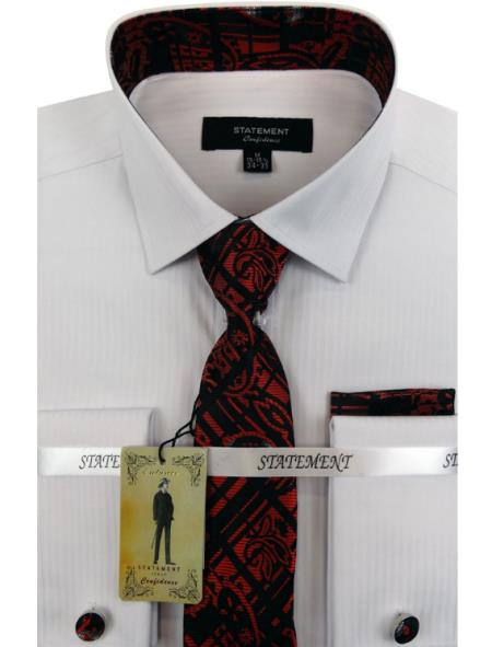 Mens White ~ Red Dress Shirts with Tie and Cuff Link Set