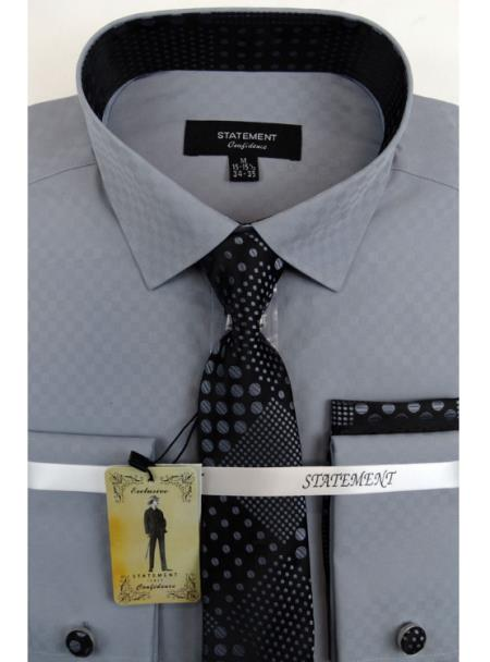 Men's Grey Dress Shirts with Tie and Cuff Link Set