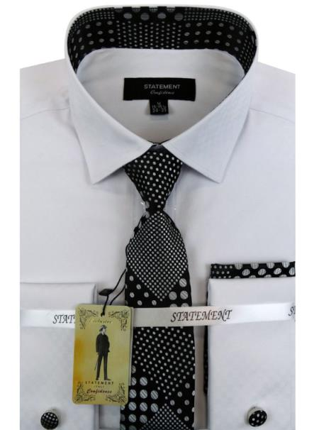 Men's White ~ Black Dress Shirts with Tie and Cuff Link Set