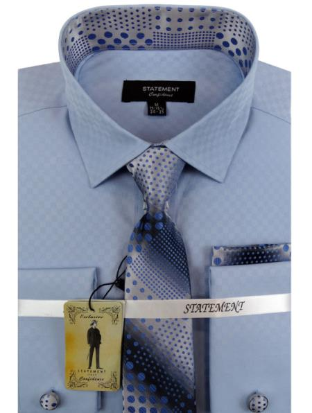 Men's White ~ Blue Dress Shirts with Tie and Cuff Link Set