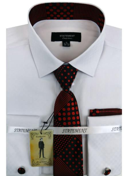 Men's White ~ Red Dress Shirts with Tie and Cuff Link Set