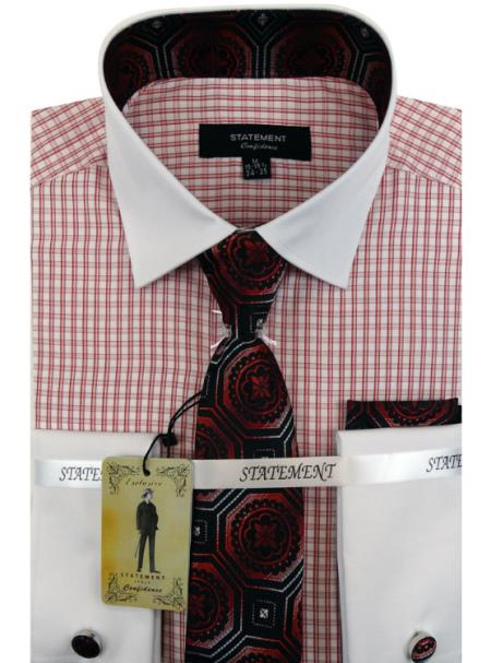 Men's Red Dress Shirts with Tie and Cuff Link Set