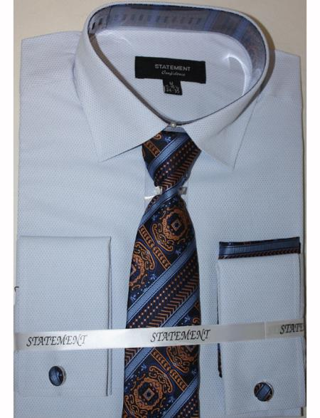 Men's Sky Dress Shirts with Tie and Cuff Link Set