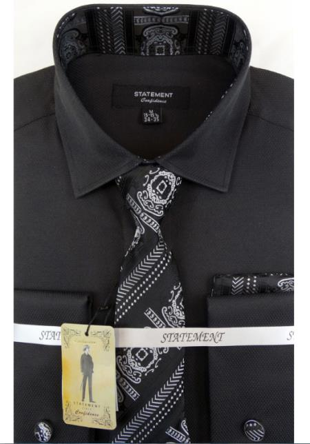 Men's Black Dress Shirts with Tie and Cuff Link Set