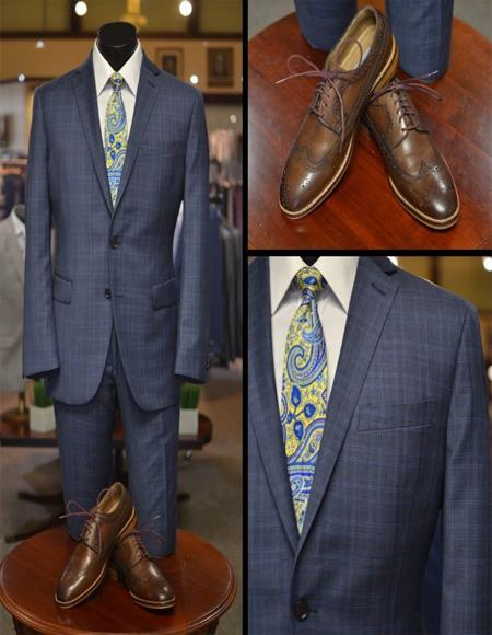 Indigo Blue Plaid Suit - Slim Fit Cobalt Blue Suit - Wool Suit