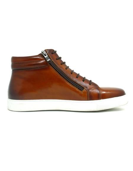 Men's KB670-13 High Top Side Zipper Leather Sneaker