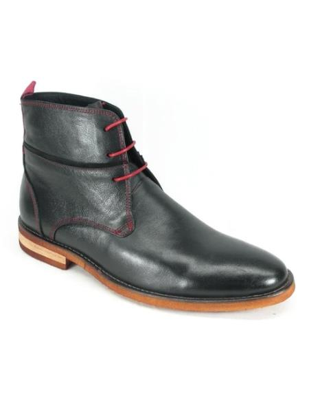 Men's KB735-11N Carrucci Red Stitches Leather Boots