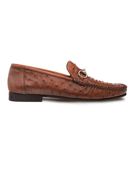 Men's Mezlan Classic Exotic Moccasin Shoes Brandy