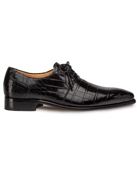 Men's Mezlan Genuine Alligator Full Leather Sole Shoes Black