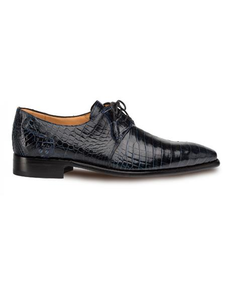 Men's Mezlan Genuine Alligator Full Leather Sole Shoes Blue