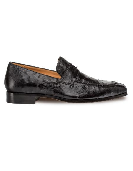 Men's Mezlan Genuine Ostrich Classic Full Exotic Slip On Penny Shoes Black