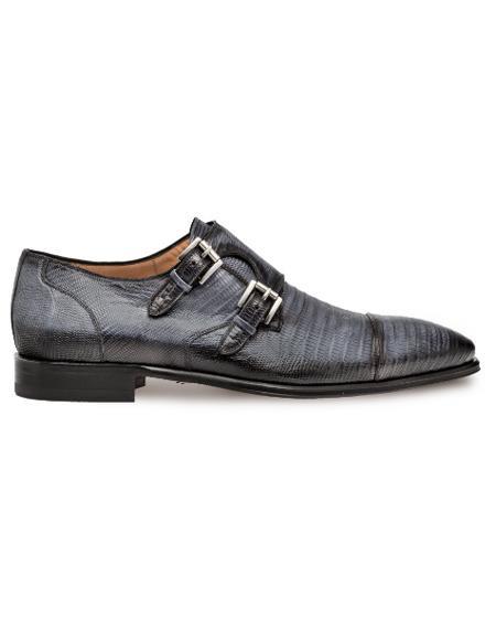 Men's Genuine Lizard Dress Double Monk Strap Cap Toe Shoes Grey