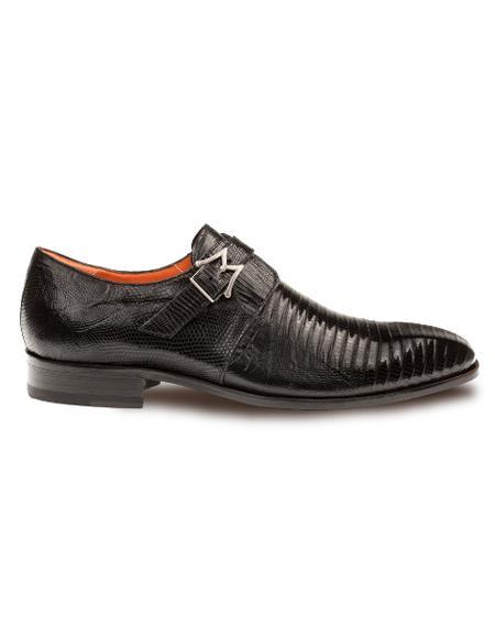 Men's Genuine Lizard Elegant Plain Toe Exotic Monk Strap Shoes Black