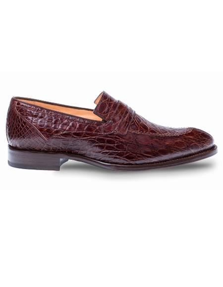 Men's Mezlan Genuine Crocodile Classic Full Exotic Penny Loafer Shoes Brown