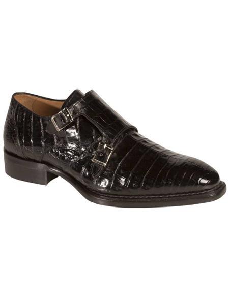 Men's Mezlan Genuine Crocodile Fashionable Exotic Double Monk Strap Shoes Black
