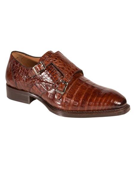 Men's Mezlan Genuine Crocodile Fashionable Exotic Double Monk Strap Shoes Sport