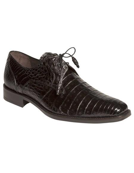 Men's Mezlan Genuine Crocodile with Crocodile-Wrapped Tassels Shoes Black