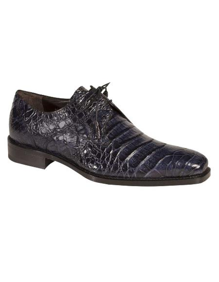 Men's Mezlan Genuine Crocodile with Crocodile-Wrapped Tassels Shoes Blue