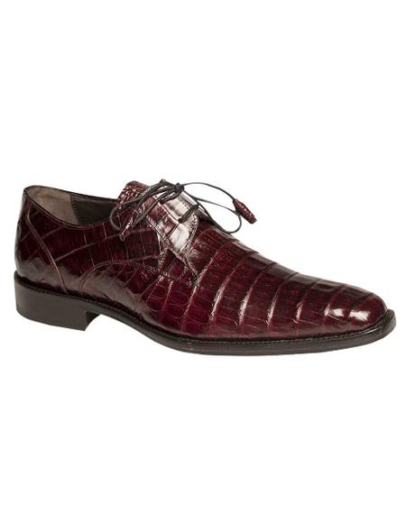 Men's Mezlan Genuine Crocodile with Crocodile-Wrapped Tassels Shoes Burgundy