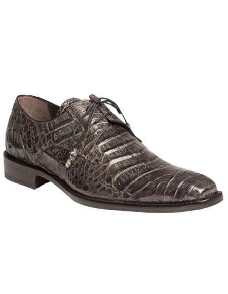 Men's Mezlan Genuine Crocodile with Crocodile-Wrapped Tassels Shoes Grey