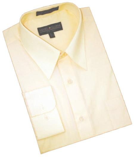 Solid Butter Cotton Blend Dress Shirt With Convertible Cuffs Mens Dress Shirt