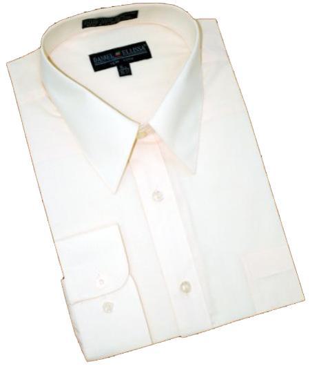 Solid Cream Ivory Cotton Blend Convertible Cuffs Mens Dress Shirt