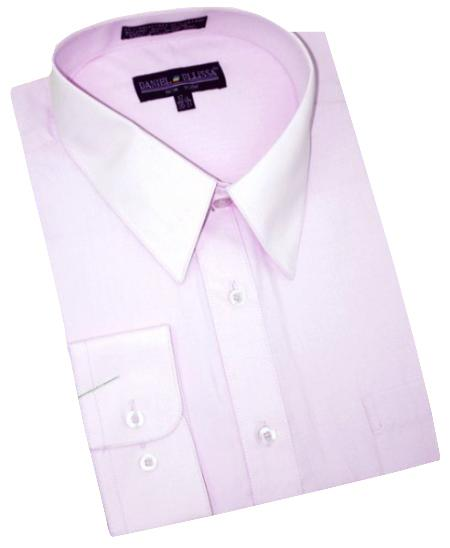 Solid Lavender Cotton Denim Convertible Cuffs Mens Dress Shirt