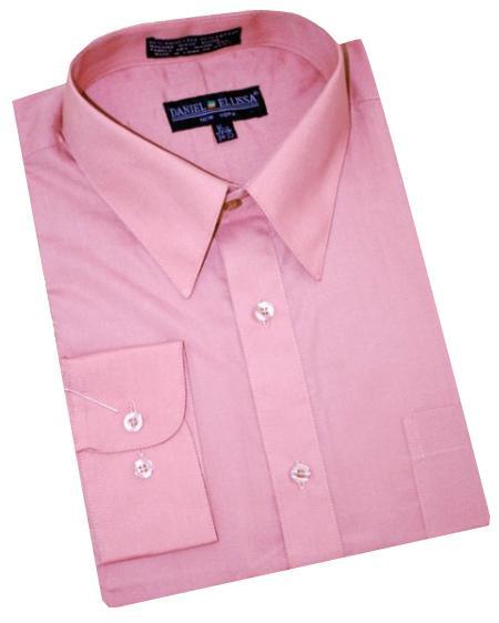 Solid Mauve Cotton Blend Convertible Cuffs Mens Dress Shirt