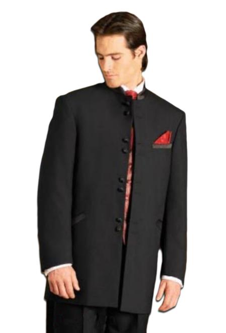 Mens 8Buttons~ Black Mandarin Tuxedo Single Breasted Suit