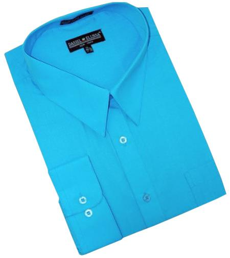 turquoise ~ Light Blue Stage Party Cotton Blend Mens Dress Shirt