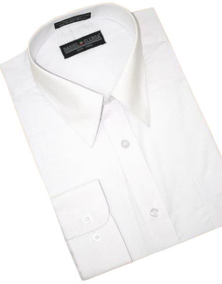 White Cotton Blend Convertible Cuffs Mens Dress Shirt