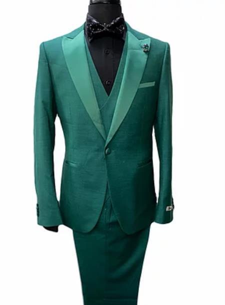 Green Tuxedo - Gree Suit - Vested Peak Lapel
