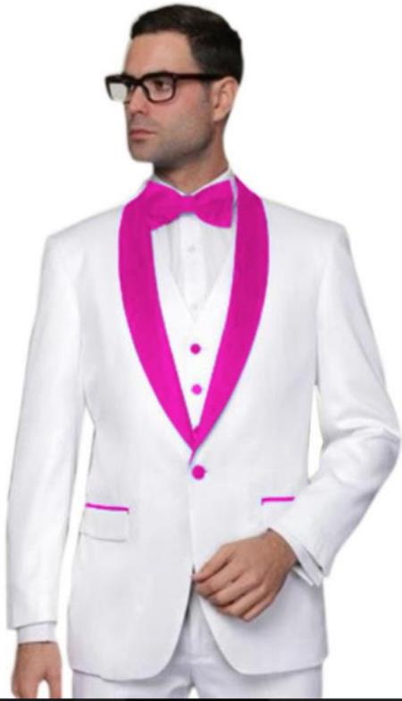 Hot Pink Tuxedo - Prom Pink Tuxedo - Rose Pink Tuxedo - Pink and Black Tuxedo (Bowtie Included)