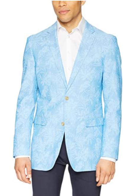 Mens Chambray Sportcoat - Chambray Blazer - Summer Cotton Blazer Blue With Palm Tree