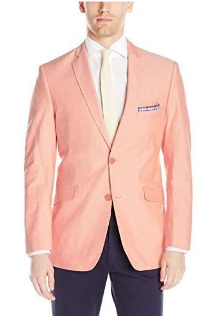 Mens Chambray Sportcoat - Chambray Blazer - Summer Cotton Blazer Orange