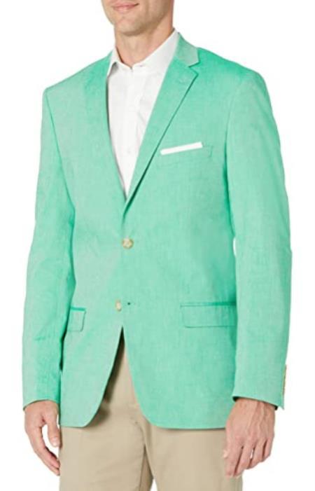 Mens Chambray Sportcoat - Chambray Blazer - Summer Cotton Blazer Green