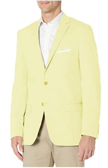 Mens Chambray Sportcoat - Chambray Blazer - Summer Cotton Blazer Yellow