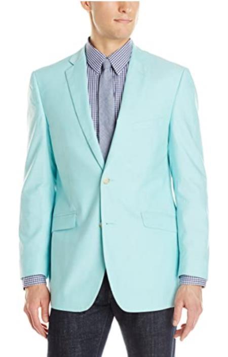 Mens Chambray Sportcoat - Chambray Blazer - Summer Cotton Blazer Seafoam