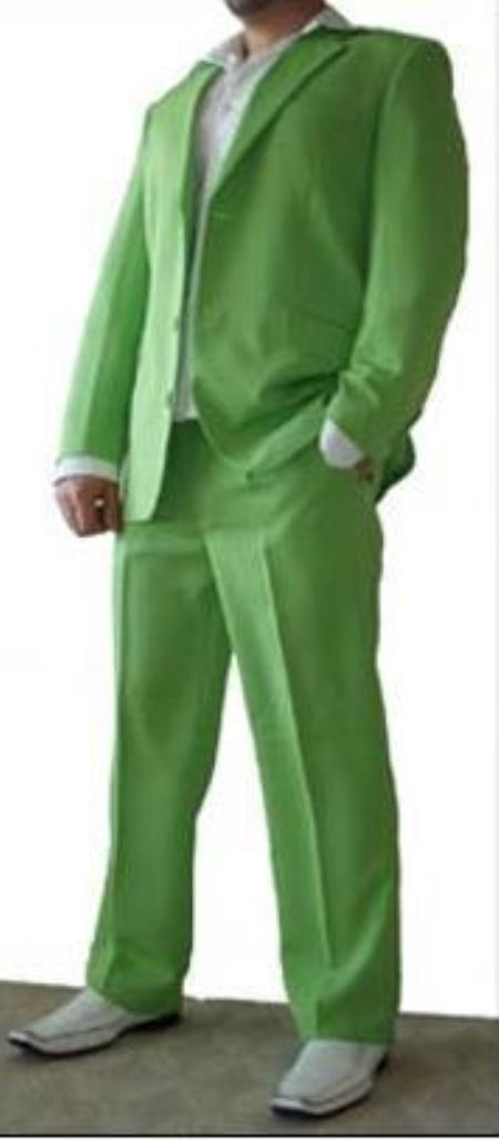 SKU#BRL5 Tuxedo lime mint Green Trim Microfiber Two Button Notch 5-Piece Choice of Solid White or Ivory $585