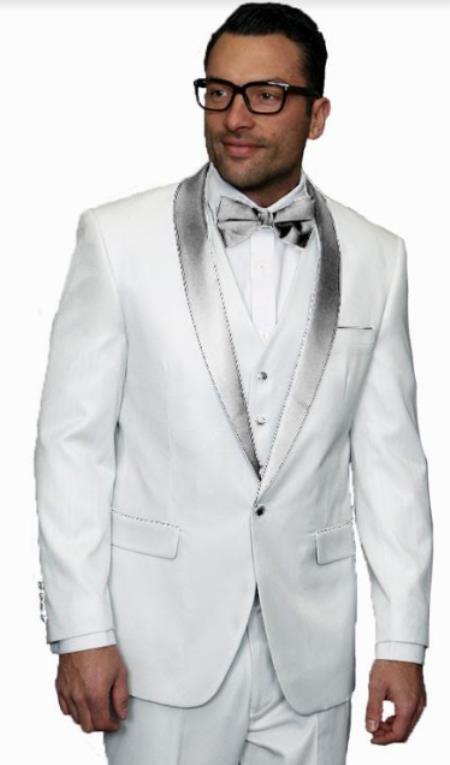 White and Silver Lapel Tuxedo