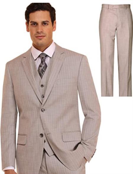 Mens Suit 3 Piece Plaid and Pinstripe Suit Beige ~ Tan