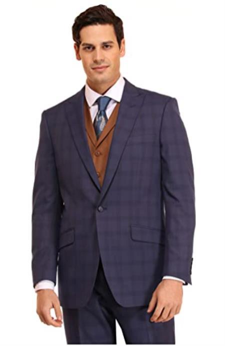 Mens Suit 3 Piece Plaid and Pinstripe Suit Blue ~ Cognac Vest