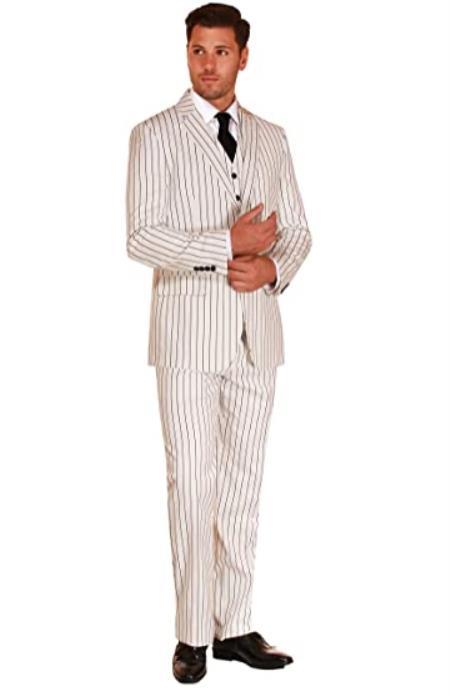 Mens Suit 3 Piece Plaid and Pinstripe Suit White
