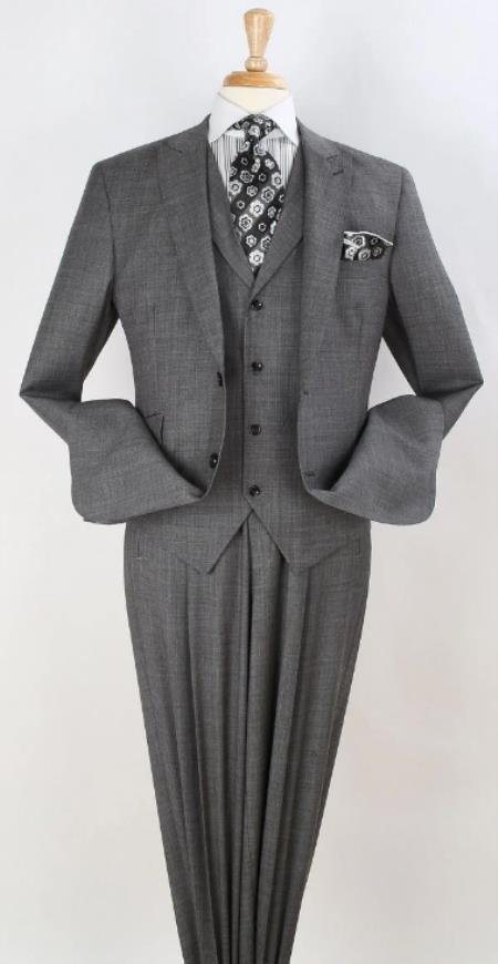 Mens Suit -  100% wool - Classic Fit Suit - Pleated Pants - Peak Lapel Vested 3 Piece Suit