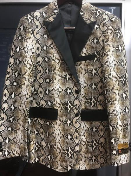 Mens Snakeskin Blazer - Python Print Blazer
