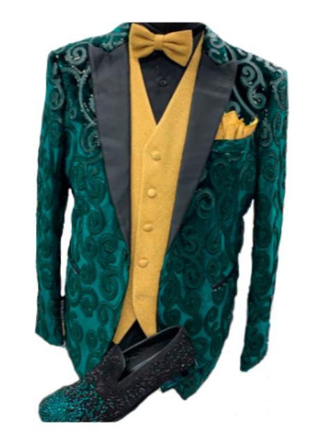 Mens Peak Lapel One Button Green Colour