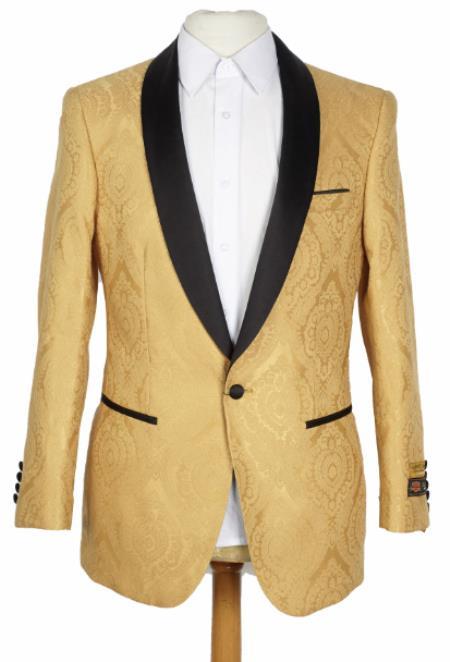 Mens Gold Blazer - Mens Gold Dinner Jacket