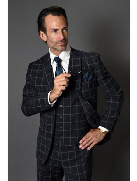 Black Plaid Suit - Black Windowpane Wool Suit