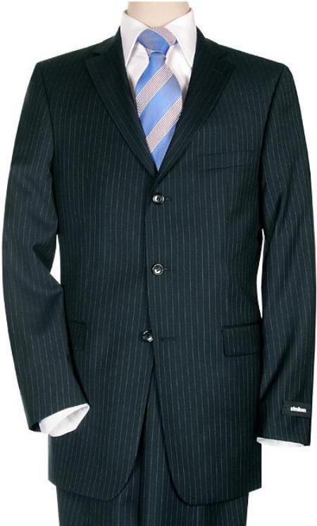 SKU# PE23 Mens Comservative Navy Pinstripe Super 140s Wool Virgin Wool Double Vent $195