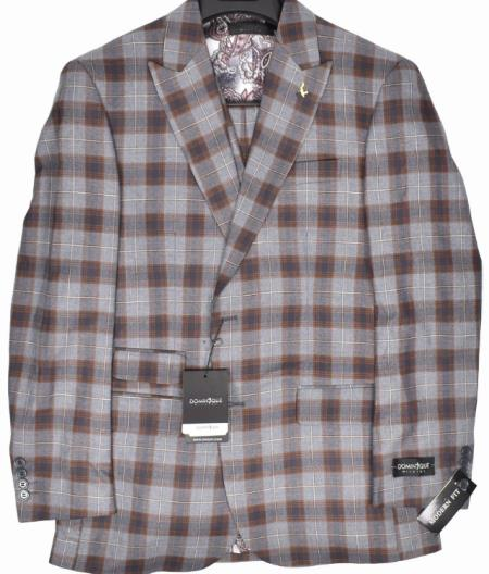 9855-2 Dominique Wilkins Vested Peak Lapel Suit - Plaid Suit 3 Piece Suit